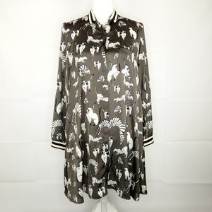 Zara Cat Print Swing Shirt Dress Sz M Button Down